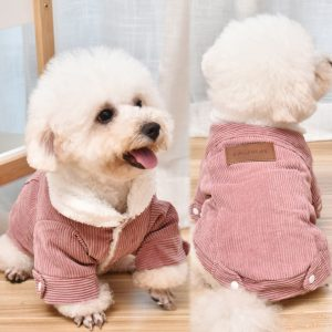 Warm Corduroy Winter Dog Jacket